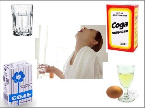 Полоскание горла подручными средствами