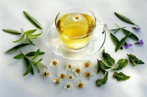Травяной сбор на основе мяты, зеленого чая и ромашки