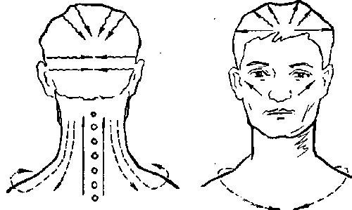 Схема проведения массажа шеи и головы