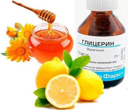 Рецепт №2 с глицерином, лимоном и медом
