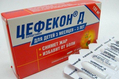 Действующим веществом свечей Цефекон Д является парацетамол
