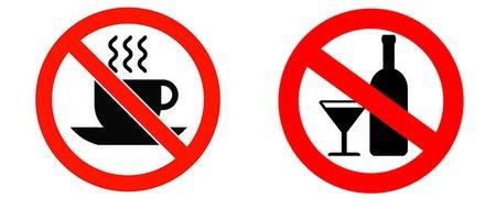 Исключаются из рациона питания кофе и алкоголь
