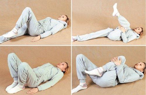 Упражнения лежа на спине с подтягиванием коленей к груди