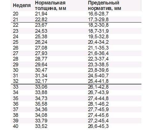 Таблица. Нормы толщины плаценты в период беременности по неделям