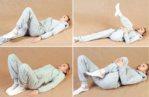 1 упражнение - подтягивание ноги к груди