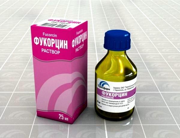 Раствор Фукорцина изготовлен для наружного применения с частотой от 3 до 5 раз в день